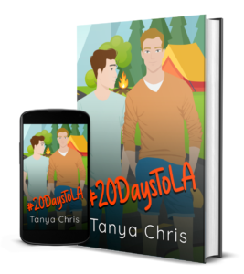 Image shows a 3D hardcover version of #20DaysToLA with a phone showing the cover as well