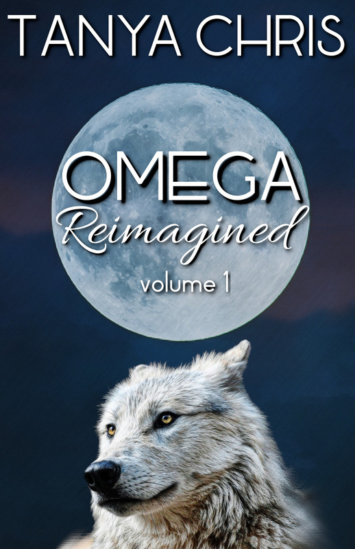 cover for Omega Reimagined volume 1 by Tanya Chris shows a white wolf under a full moon