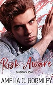 Cover for Risk Aware by Amelia C. Gormley shows a young sandy haired man against a paint splattered background