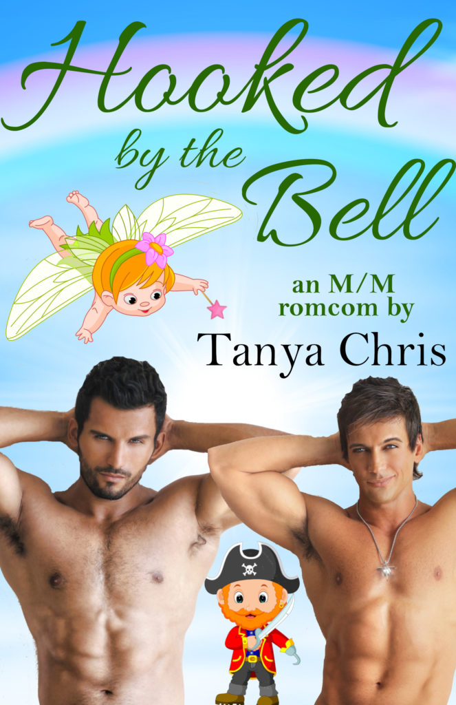 Cover for Hooked by the Bell shows two bare-chested men in front of a rainbow skey scene. A small cartoon fairy floats over their heads and a small cartoon pirate is between them