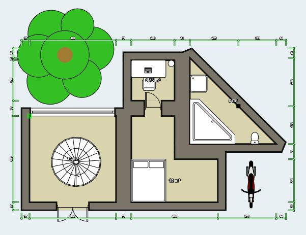 A rather chaotic floor plan with a spiral staircase, a huge tree, a motorcycle out front, a bedroom with a bed, and an office with a desk and chair